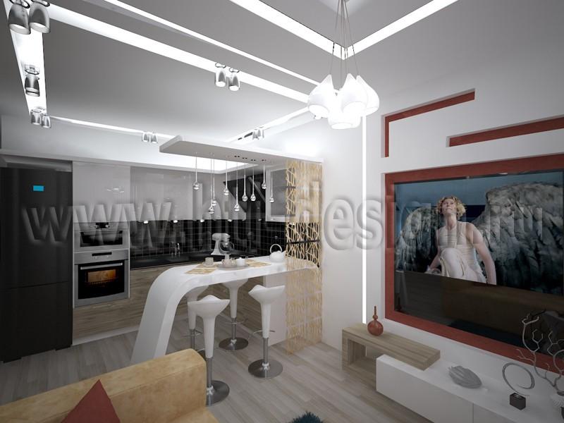 रहने वाले कमरे के साथ रसोई 3d max में प्रोजेक्ट की 3 डी विज़ुअलाइज़ेशन, vray Дизайн-лаборатория Hi-Tech Interior