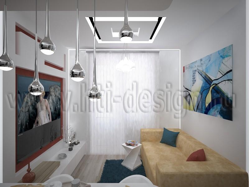 Кухня, совмещенная с гостиной в 3d max vray изображение