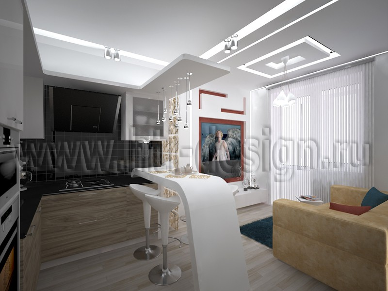 Kitchen with living room in 3d max vray image