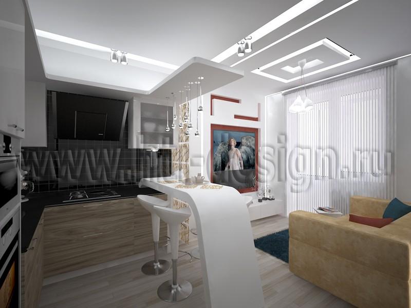 imagen de Cocina con sala de estar en 3d max vray