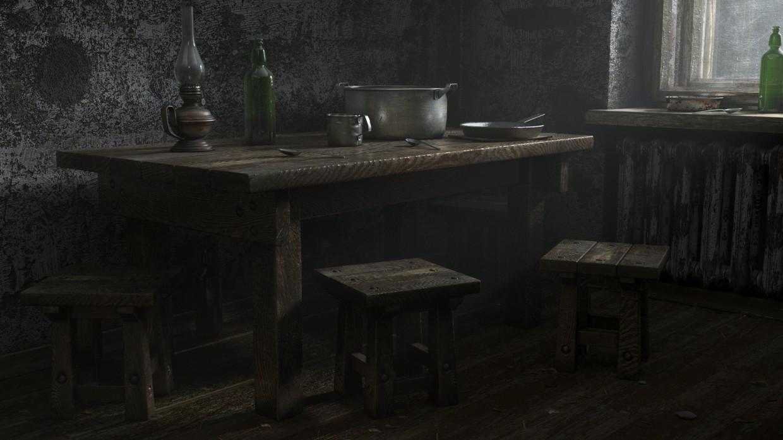 Kitchen in the old Khrushchev in 3d max corona render image