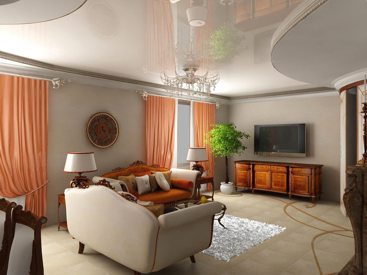 Living room in a cottage in 3d max vray image