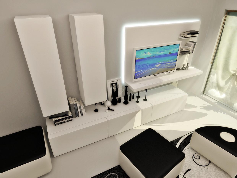 3D Visualisierung des Projektes in der ganz in weiß 3d max , Rendern vray von arbuz