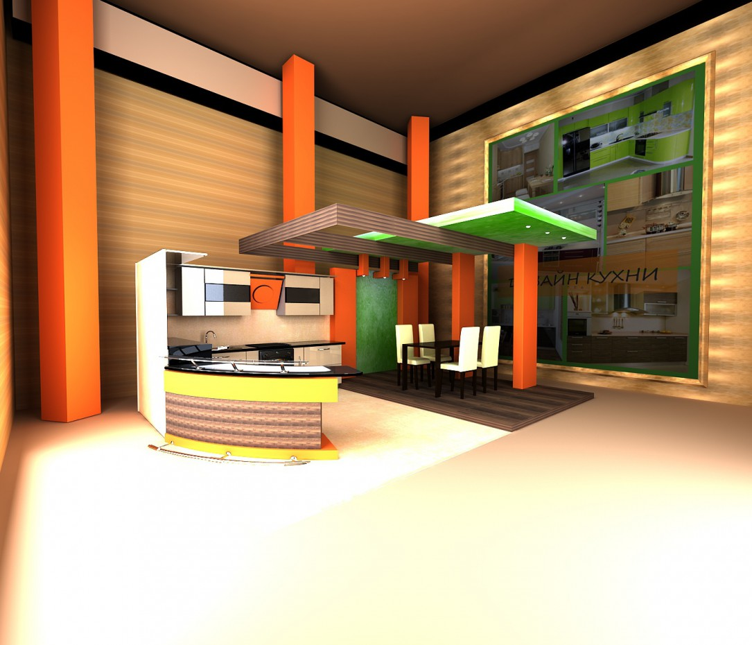 Kitchen Exhibition in 3d max vray image