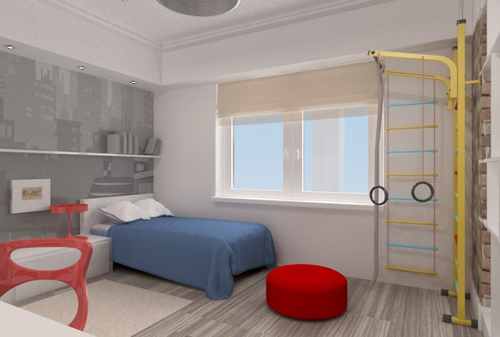 Room for five-year old boy in 3d max vray image