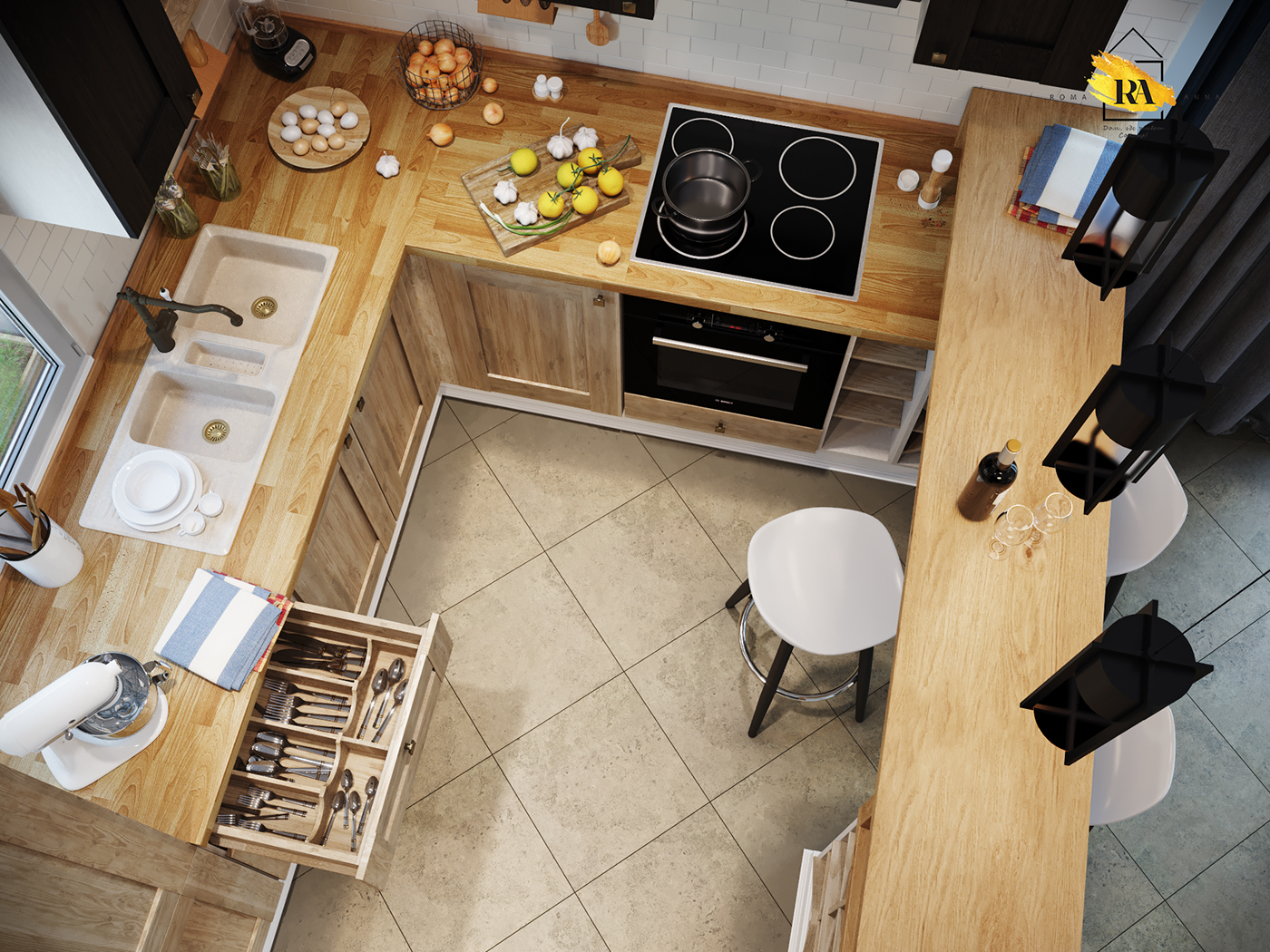 Kitchen. Unusual country in 3d max corona render image