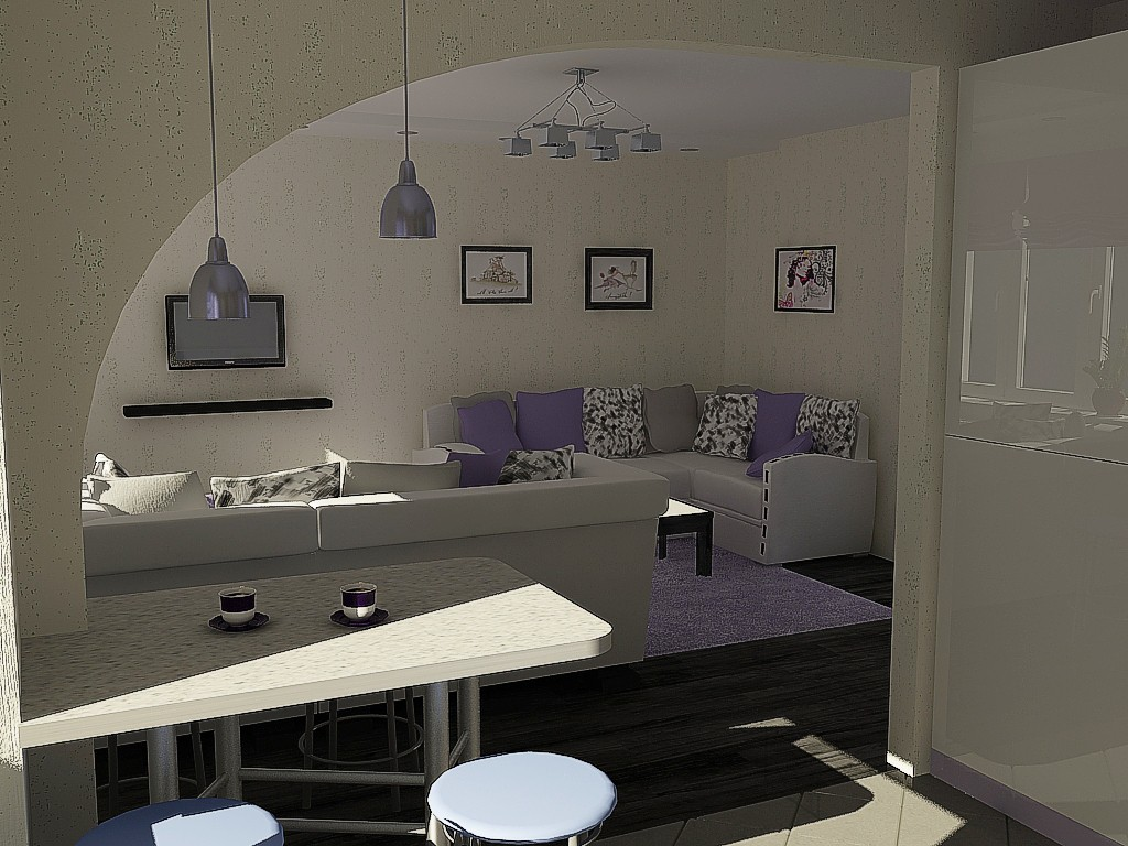Kitchen-living room in 3d max vray image