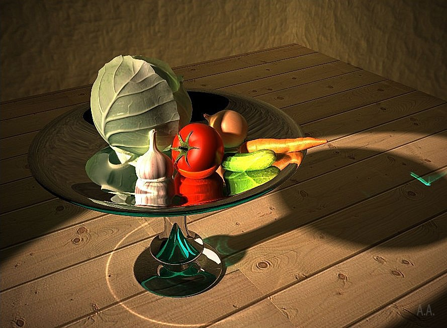 Still life with vegetables  in  3d max   vray  image