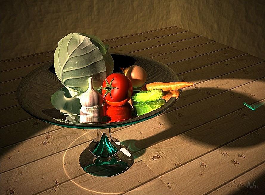 imagen de Naturaleza muerta con verduras en 3d max vray