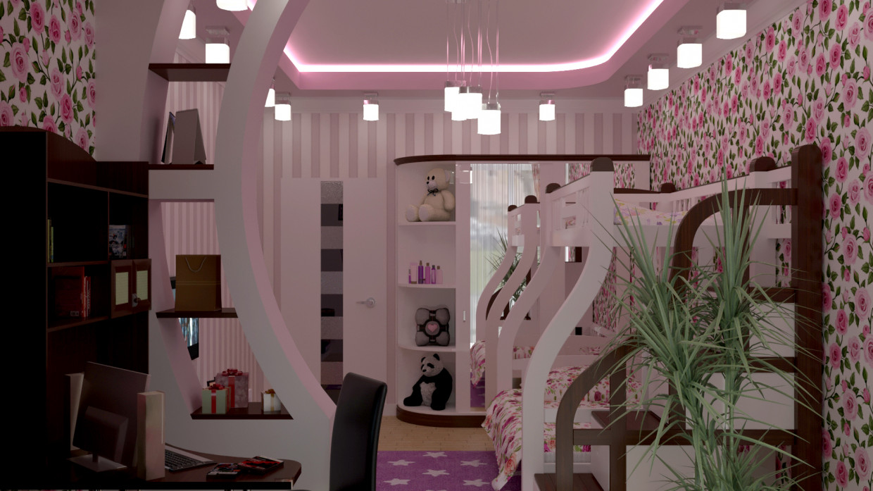 3d visualization of the project in the girls Room 3d max, render corona render of Nurullokhon