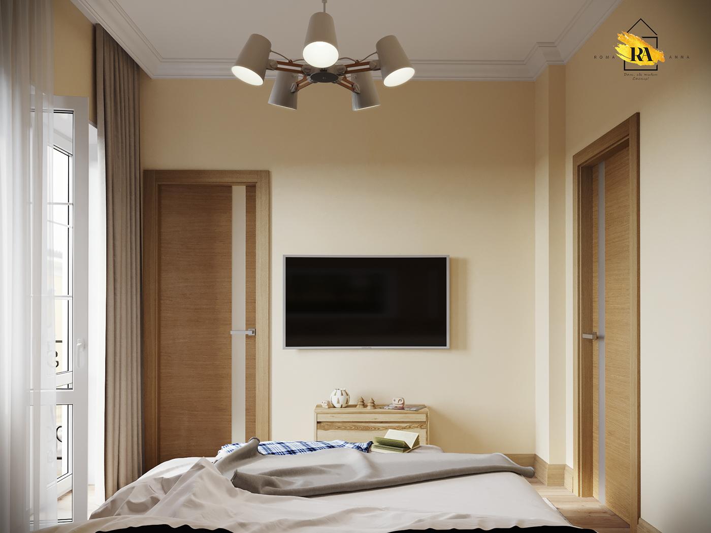 Gentle and comfortable bedroom in 3d max corona render image