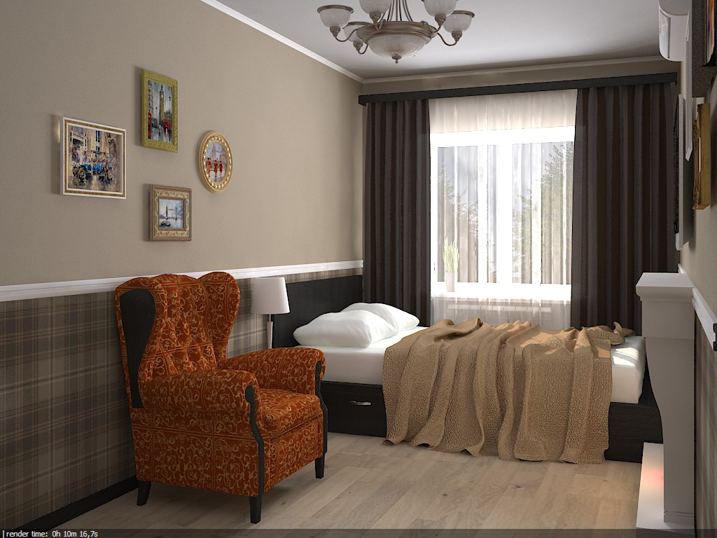 Спальня в хрущевке в 3d max vray изображение
