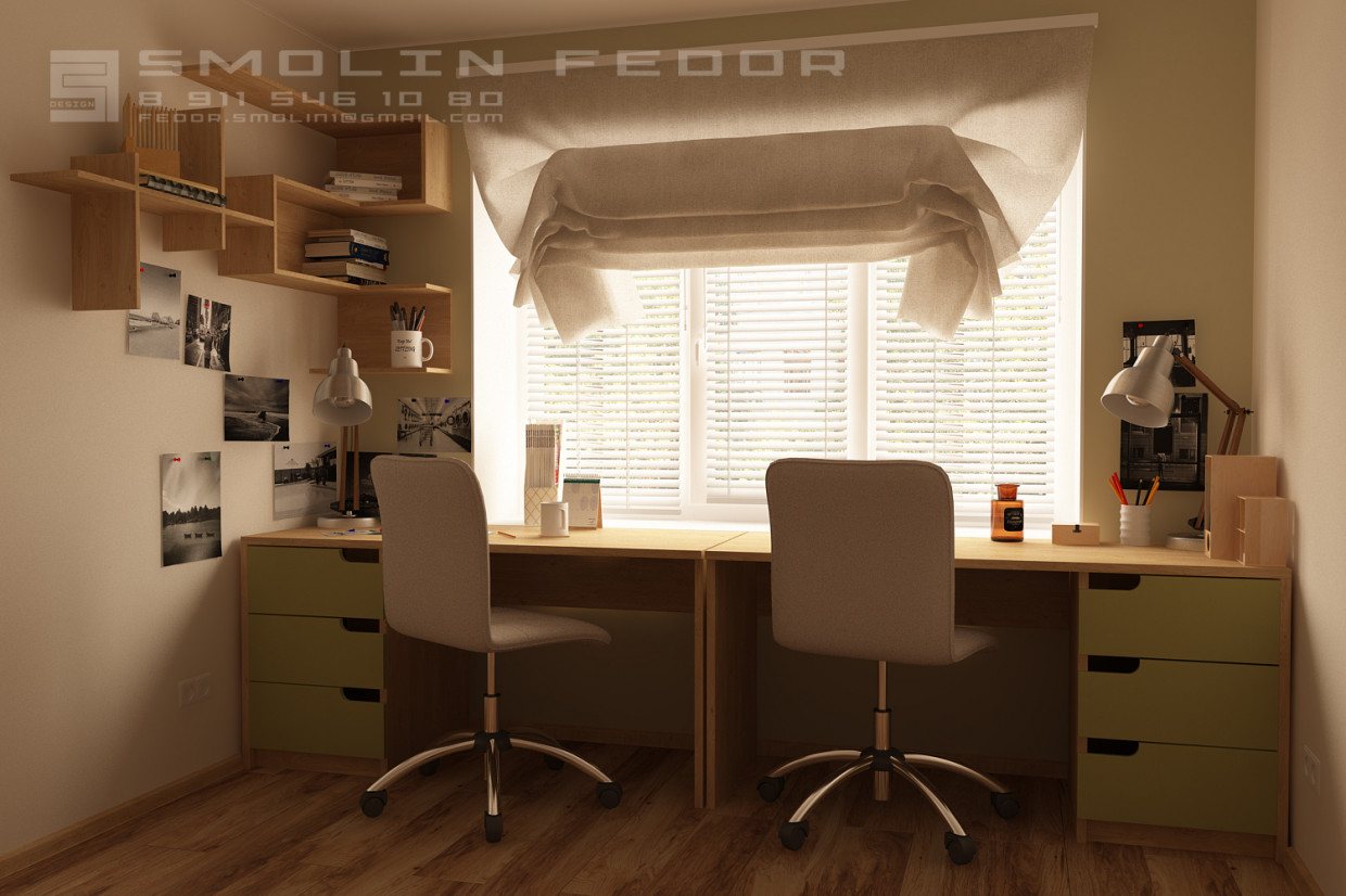 Workstation in the Children's room in 3d max corona render image