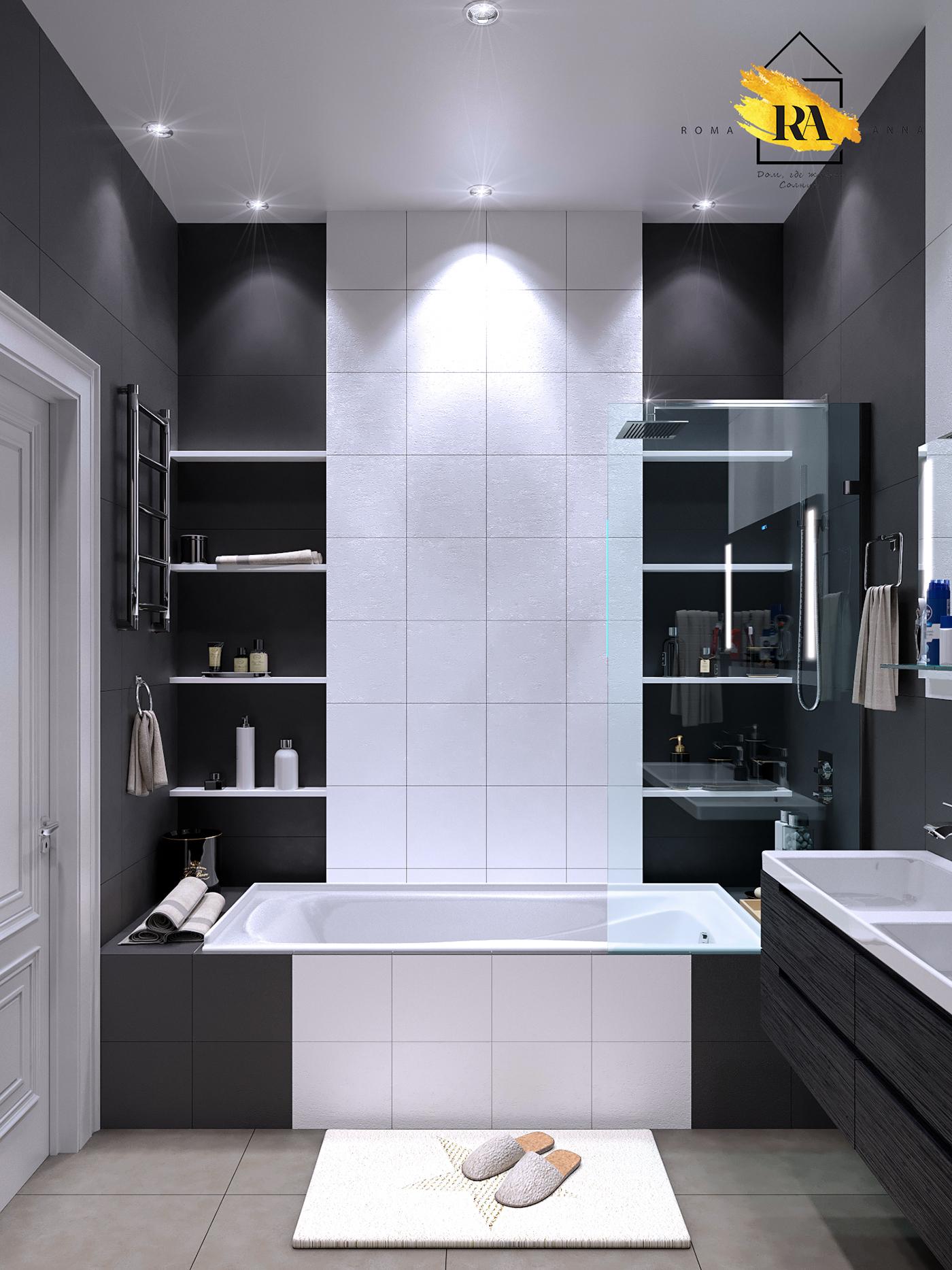 Bathroom visualization in 3d max corona render image