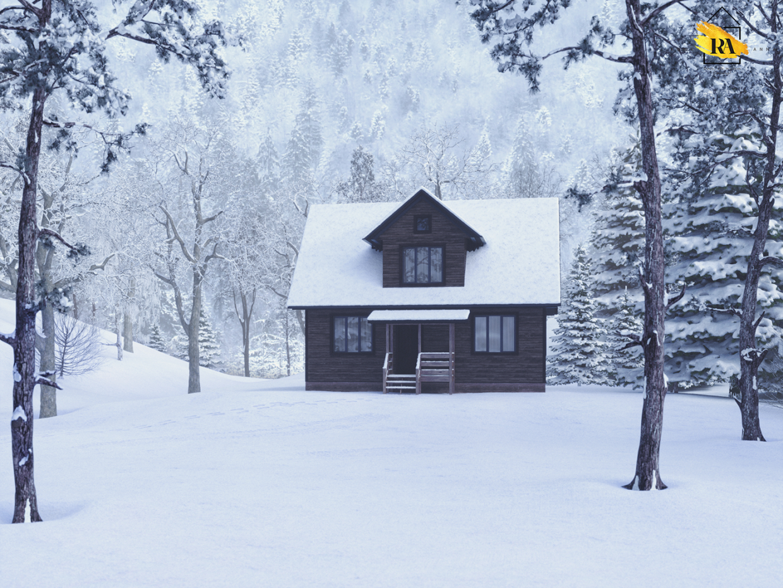 सर्दियों के जंगल में घर 3d max corona render में प्रस्तुत छवि