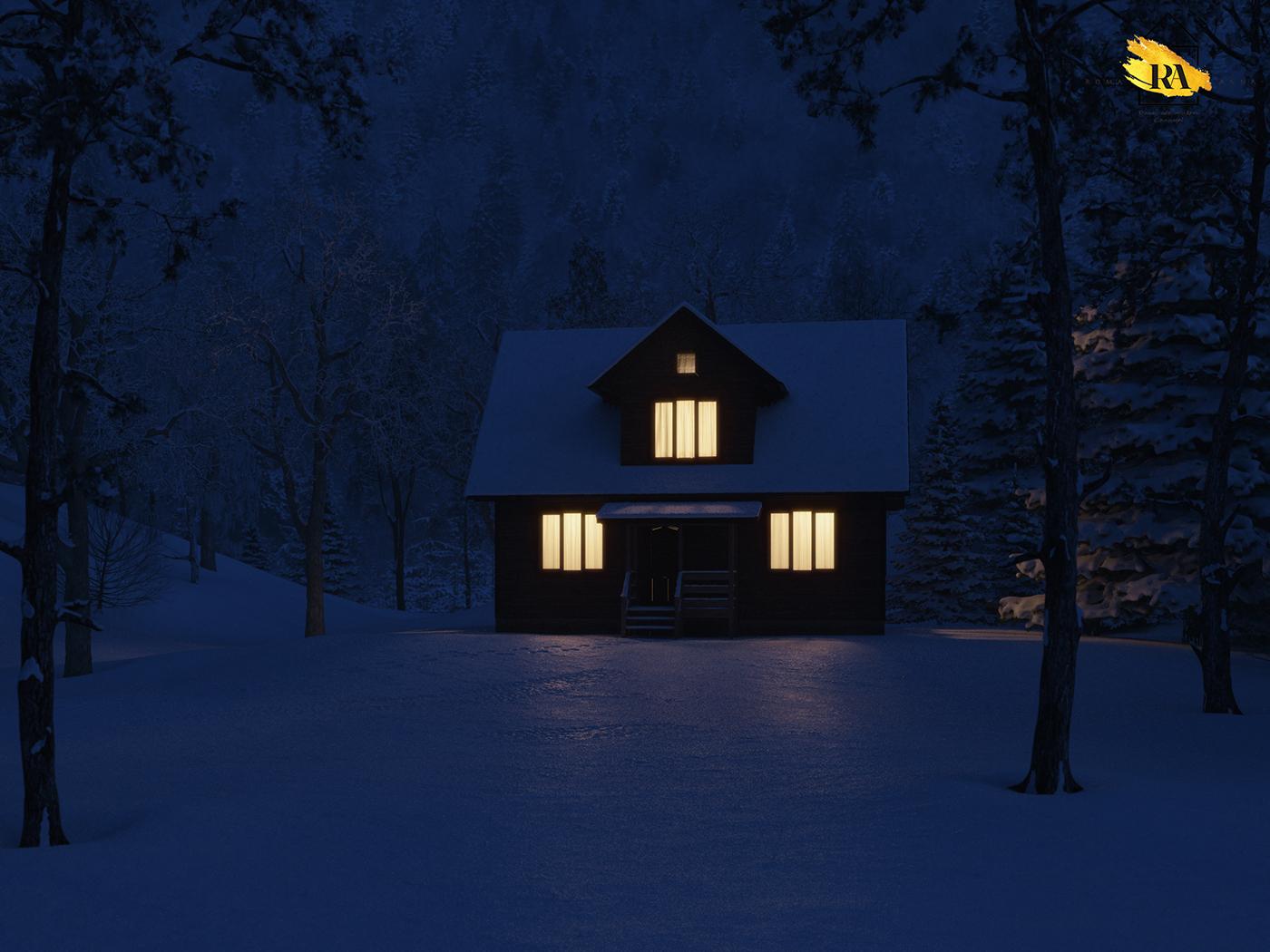 Kış ormandaki ev in 3d max corona render resim