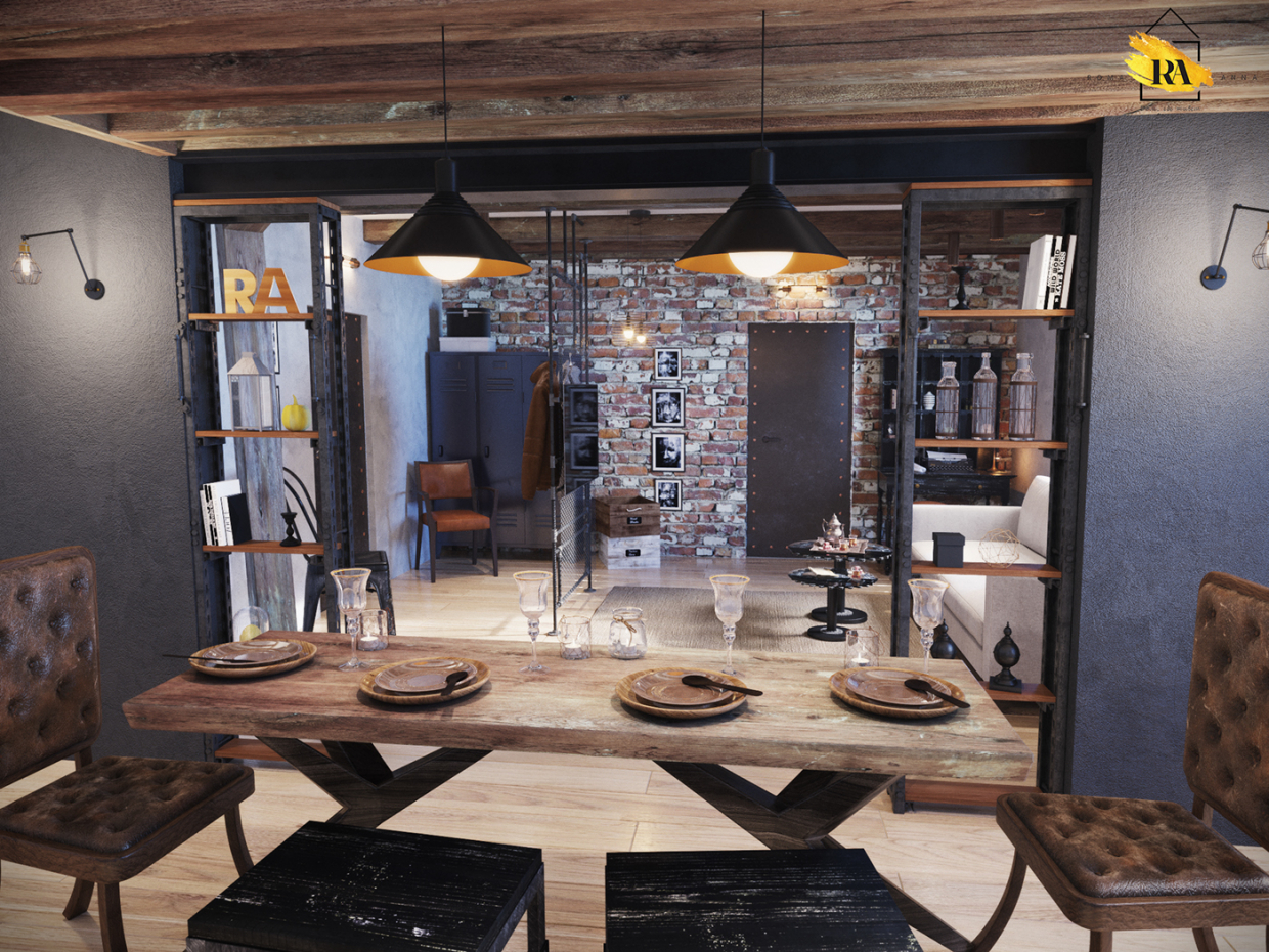 Indo-style living-dining room in 3d max corona render image