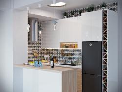 Die Küche. Kostenloses Layout mit engen Einschränkungen. Tiflis Stadt