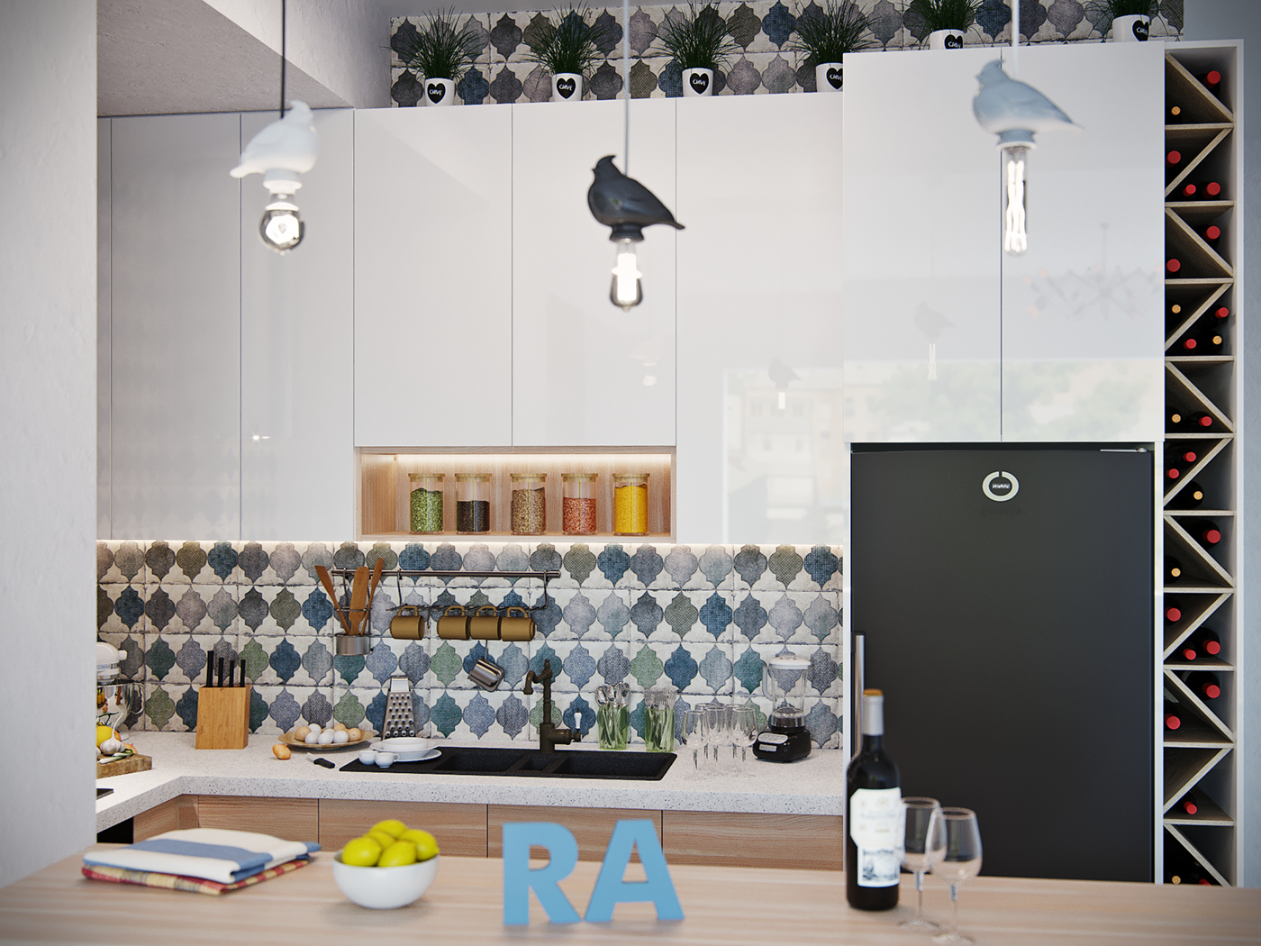 Kitchen. Free layout with tight restrictions. Tbilisi city in 3d max corona render image
