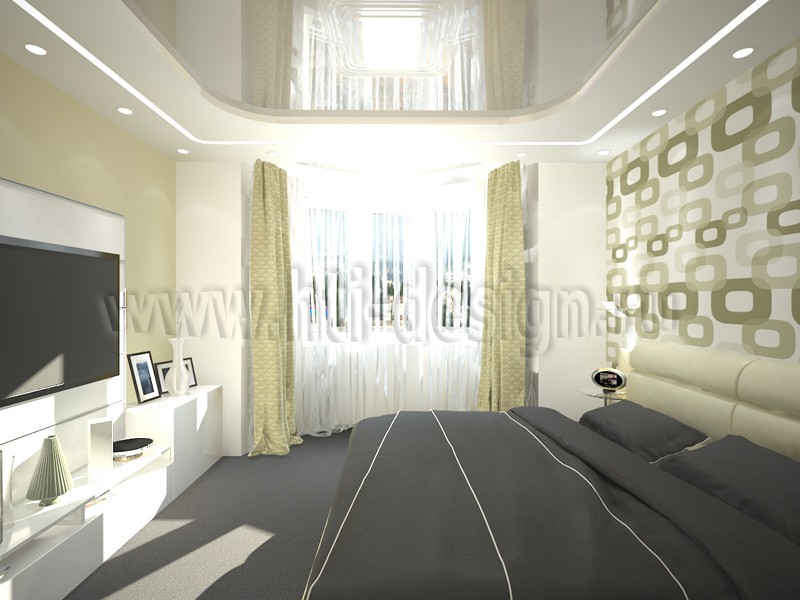 Bedroom in olive tones in 3d max vray image