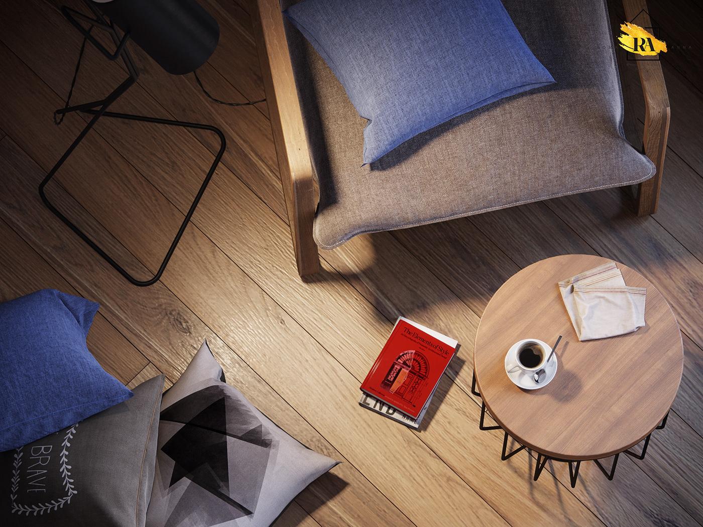 Cozy corner in 3d max corona render image