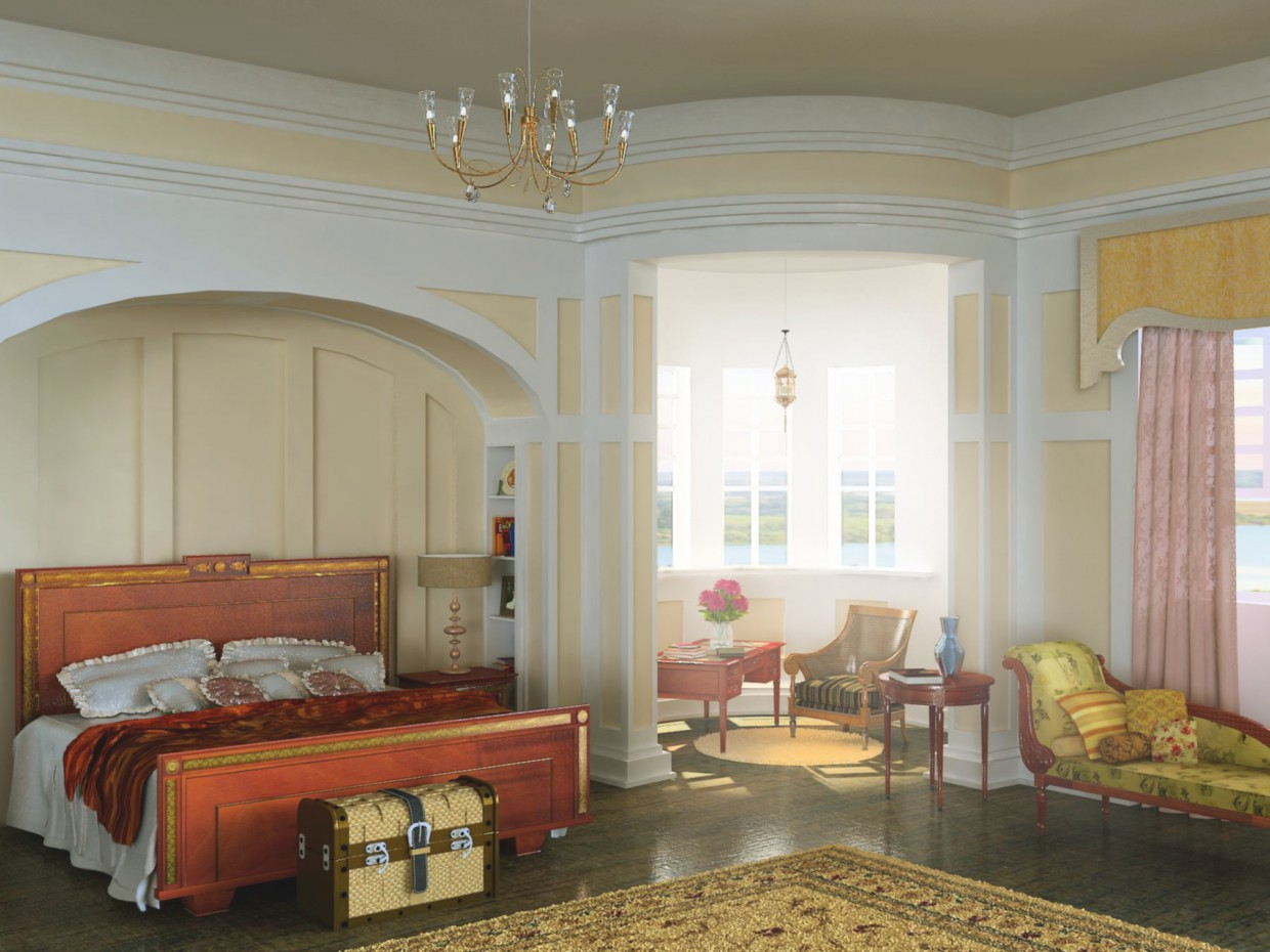 3d visualization of the project in the Bedroom 3d max, render vray of Avantina