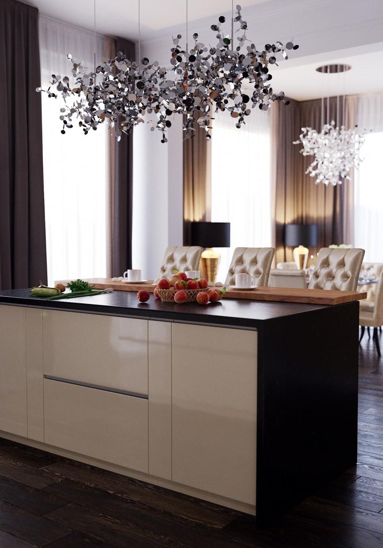 imagen de Sala de estar + cocina en 3d max corona render