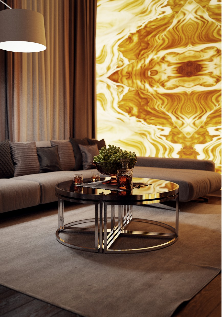 Living room kitchen style art deco design and visualization for Room decor visualizer