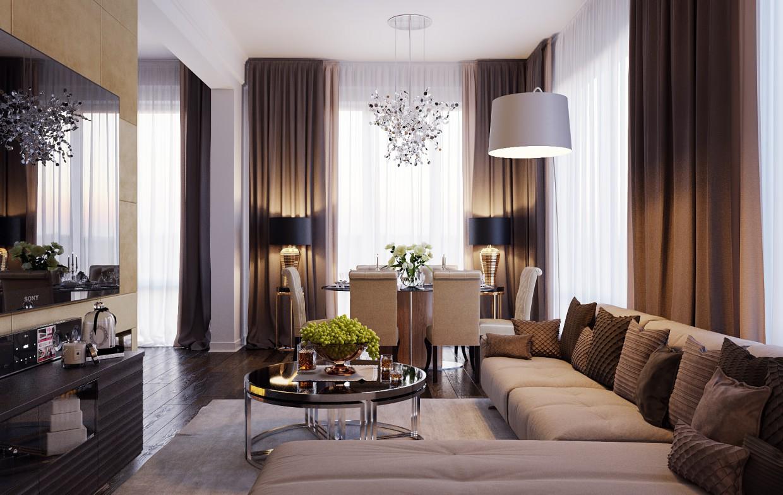 Вітальня + Кухня в 3d max corona render зображення