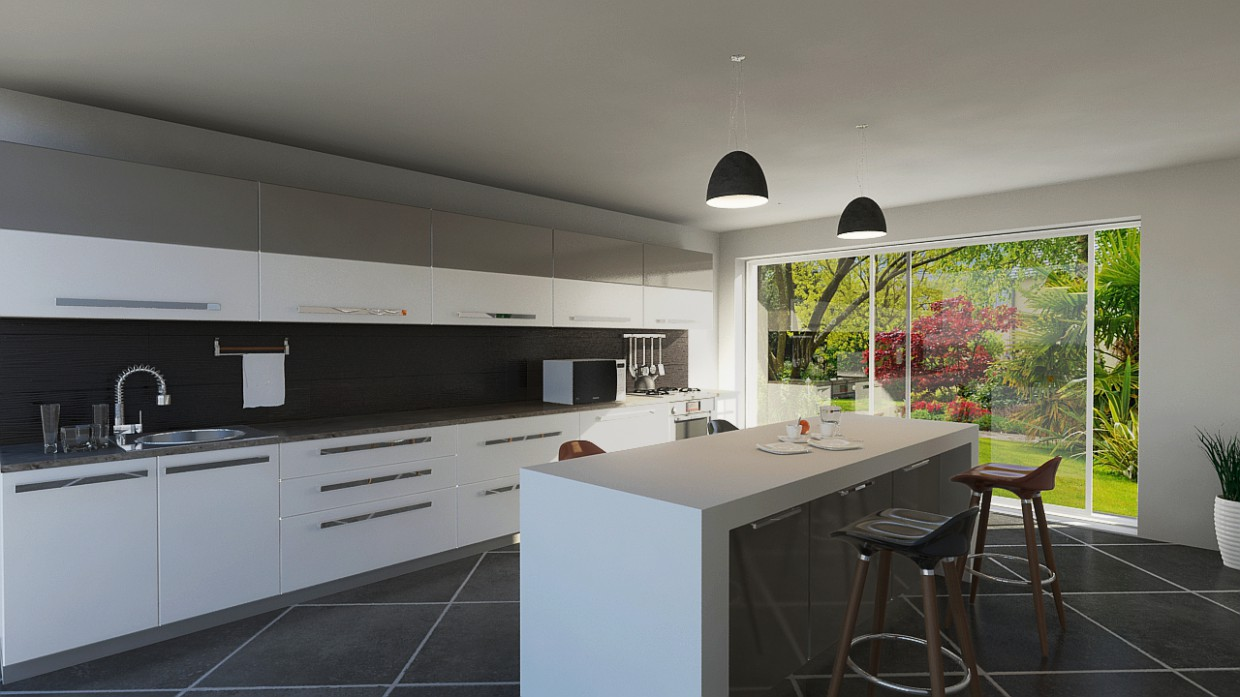 3d visualization of the project in the kitchen 3d max, render mental ray of bilal mezzari