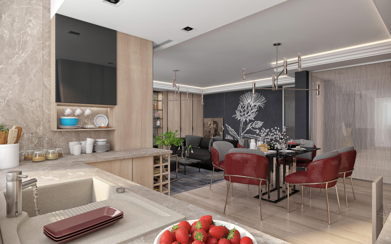 Apartment in Kiev. in 3d max corona render image