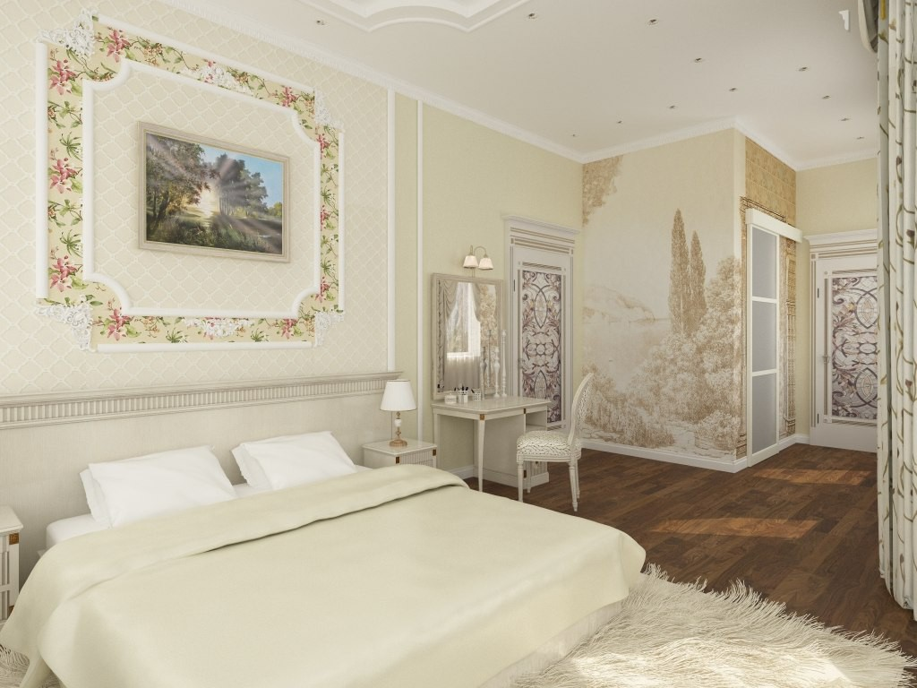 Bedroom for a young couple. in 3d max vray image