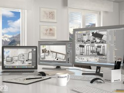 Mountain office Annette: living 3d image