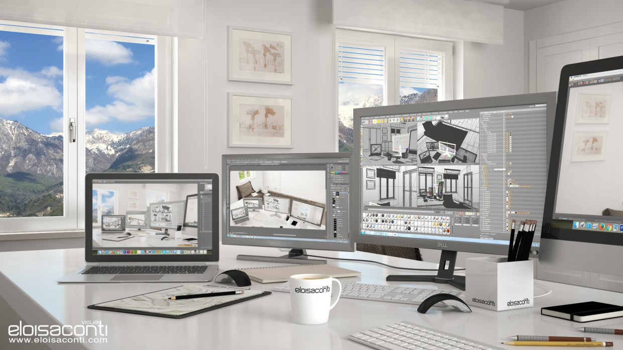 3d visualization of the project in the Mountain office Annette: living 3d image Cinema 4d, render vray 2.5 of eloisa.conti