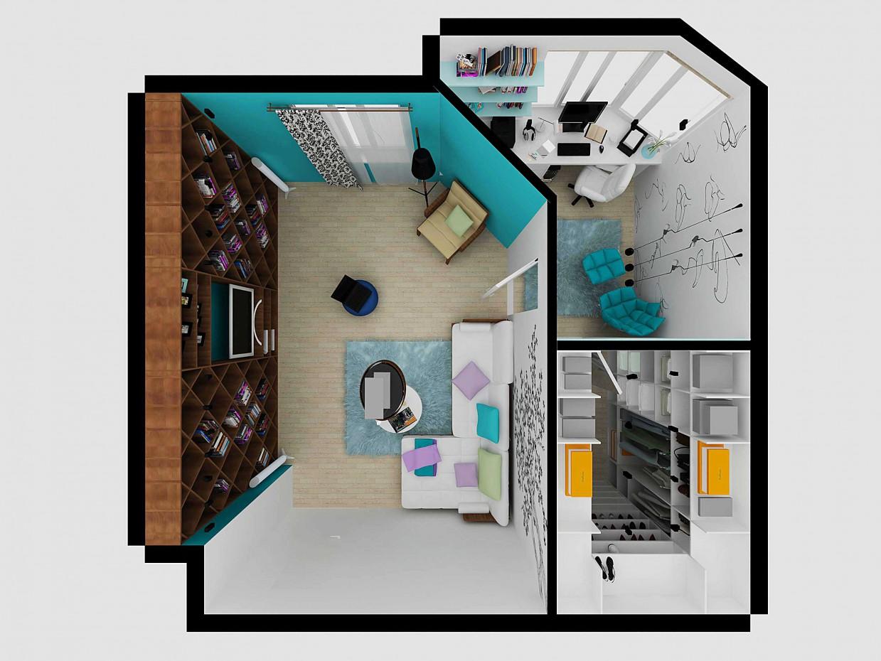 Перепланировка гостиной в г. Екатеринбурге в 3d max vray изображение