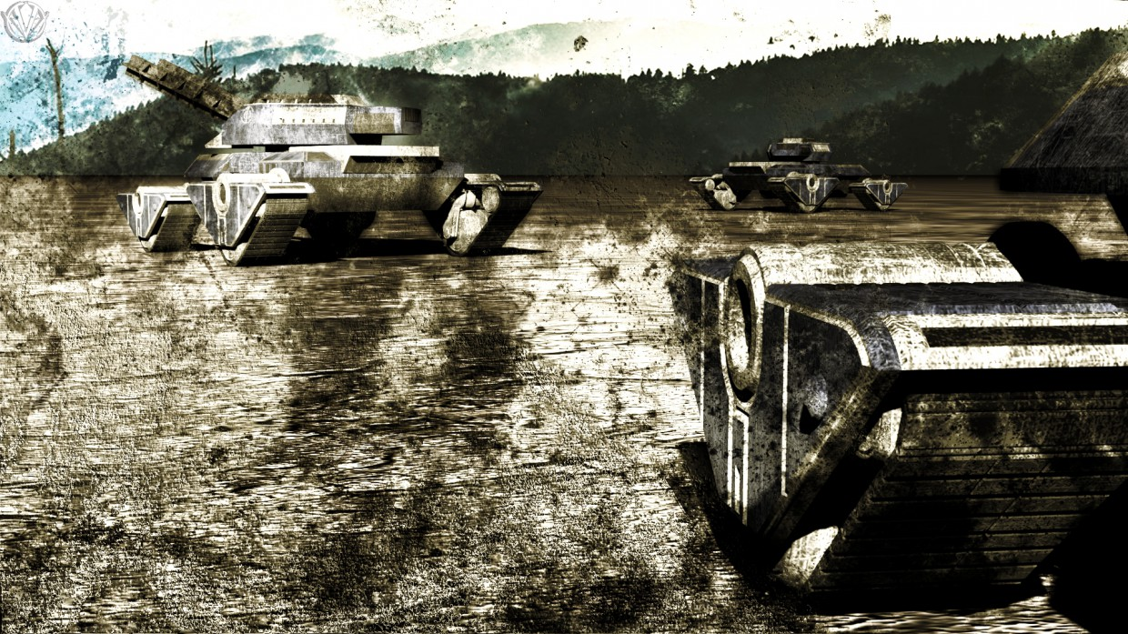 Tanks on the march in 3d max mental ray image