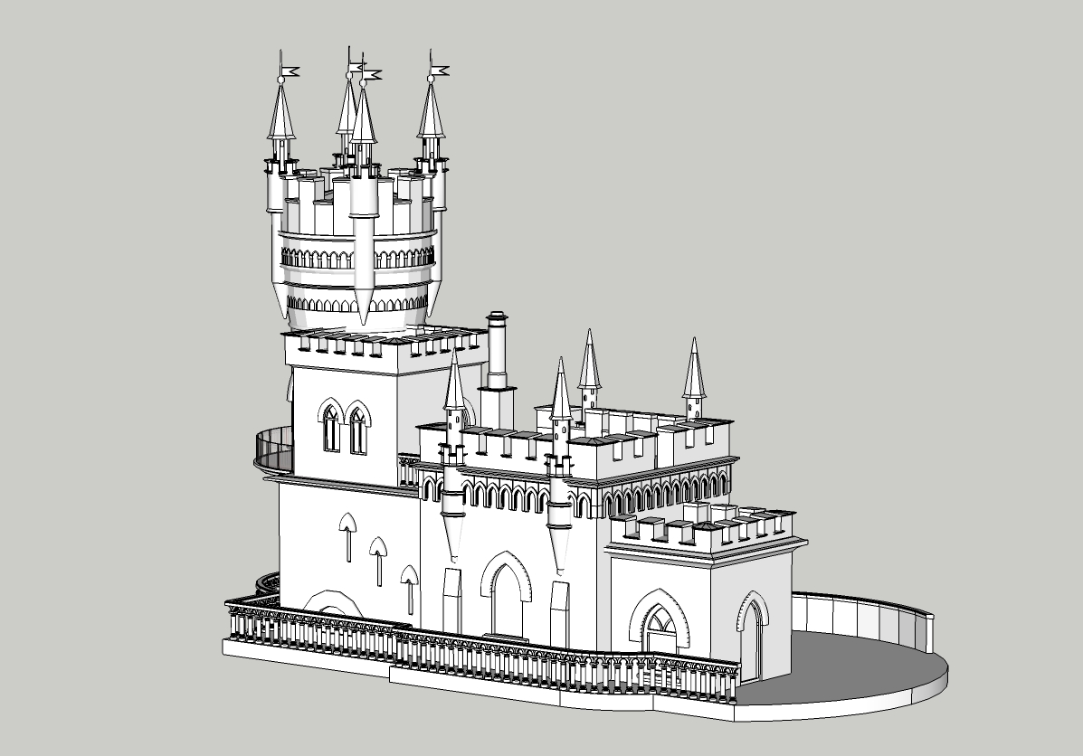 "Castle model ""Swallow's Nest"" in SketchUp vray 3.0 image"