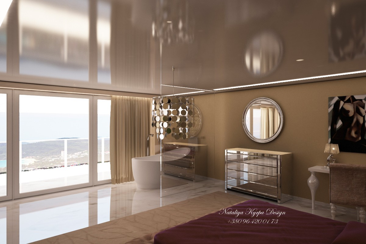 Bedroom with sea view in 3d max vray image