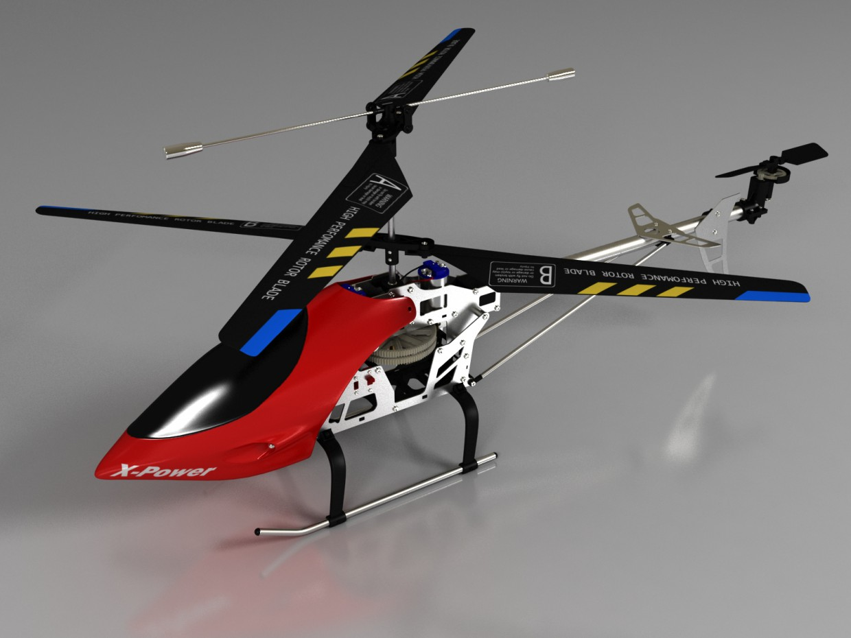 A model of radio-controlled helicopter in 3d max vray image