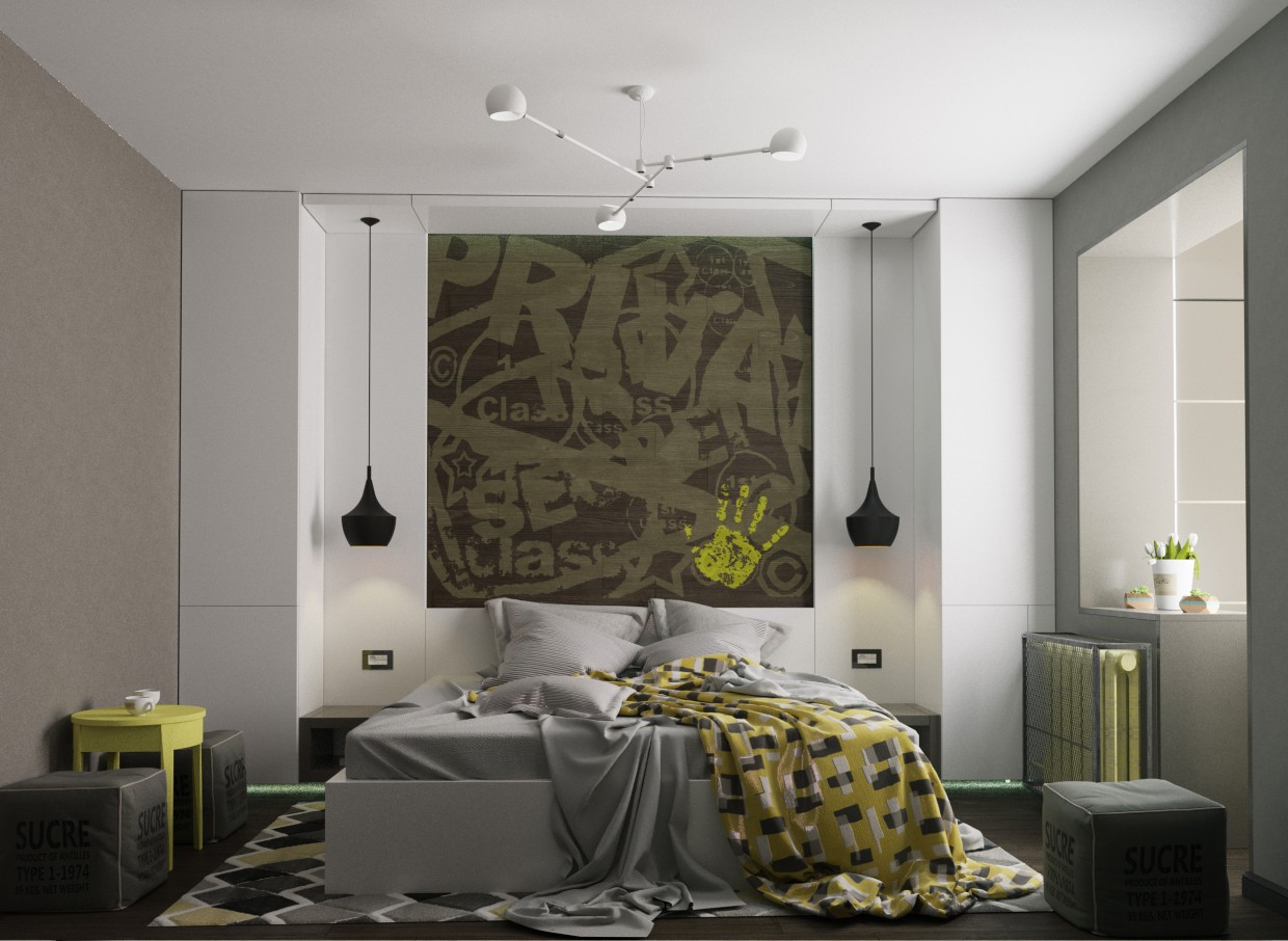bedroom for a young man in 3d max corona render image