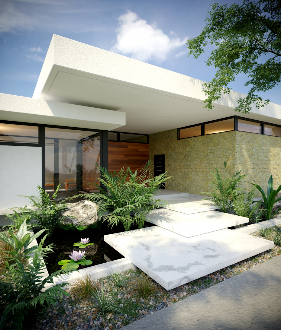 3D visualization of the exterior in 3d max corona render image