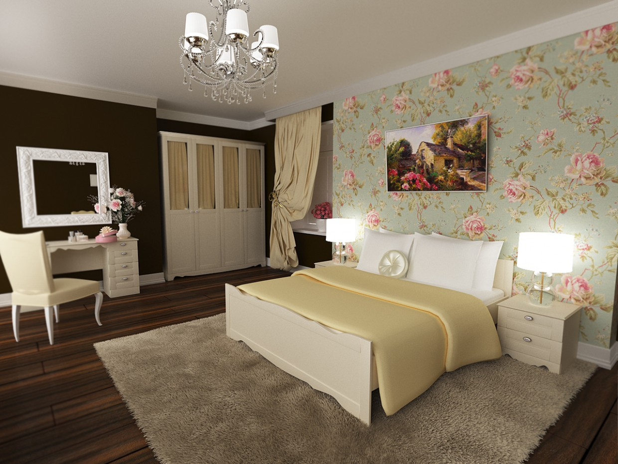 3d visualization of the project in the Bedroom 3d max, render corona render of Vitalina