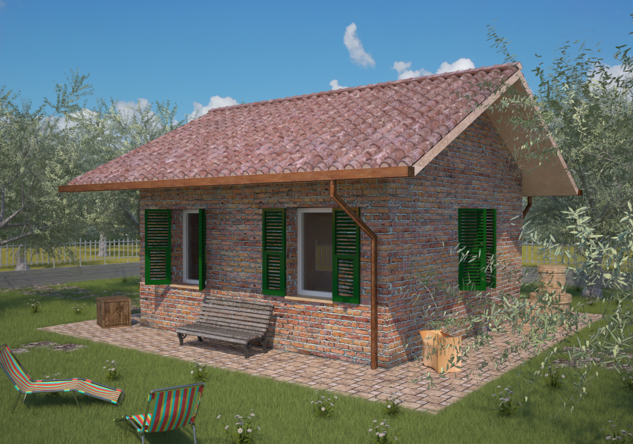 Small nice house in Blender maxwell render image