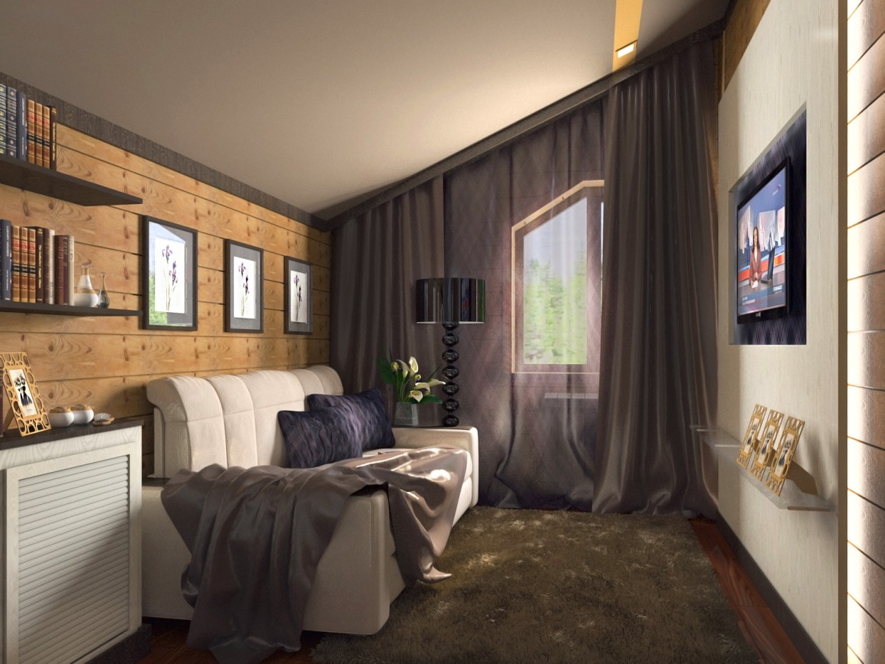 The guest room in the cottage of logs in 3d max corona render image