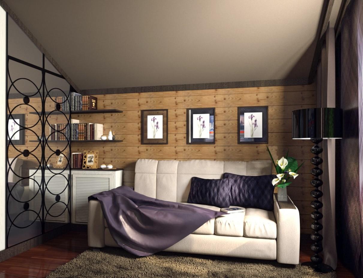 imagen de La habitación en la cabaña de troncos en 3d max corona render