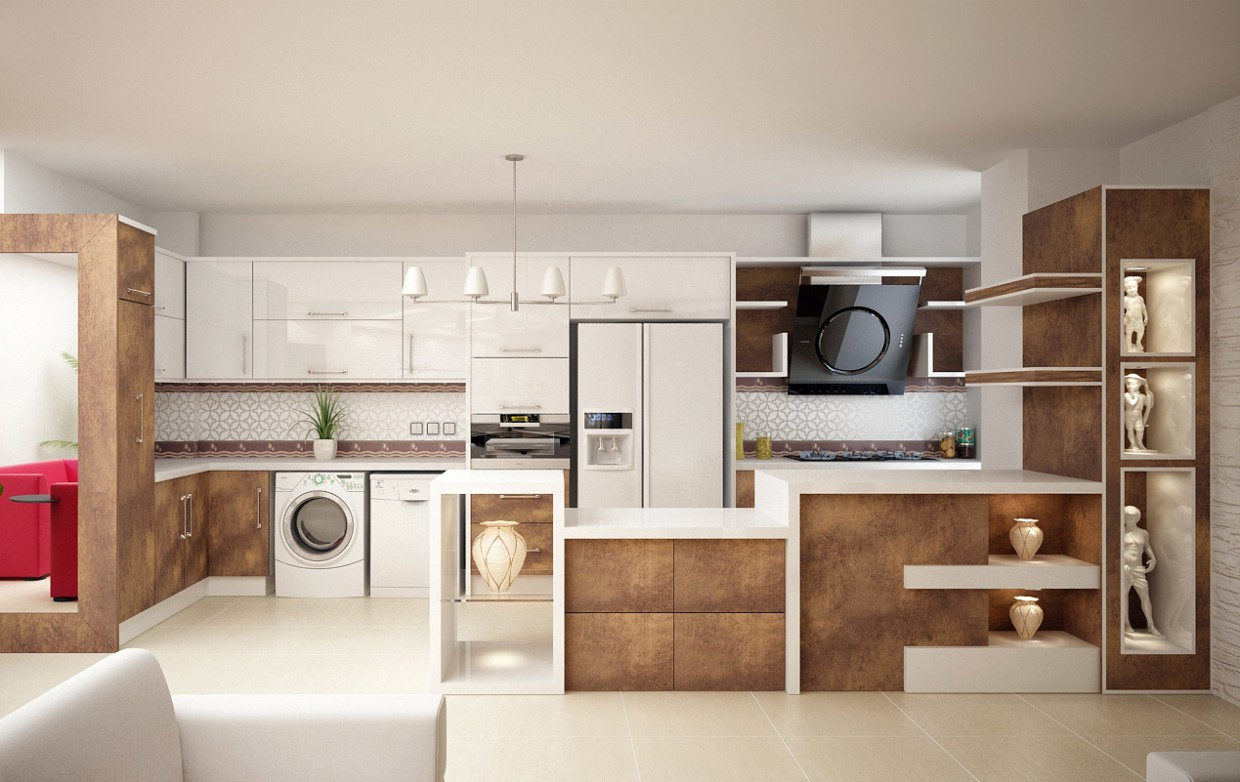3d visualization of the project in the Kitchen 3d max, render vray of mohamaddarvishi
