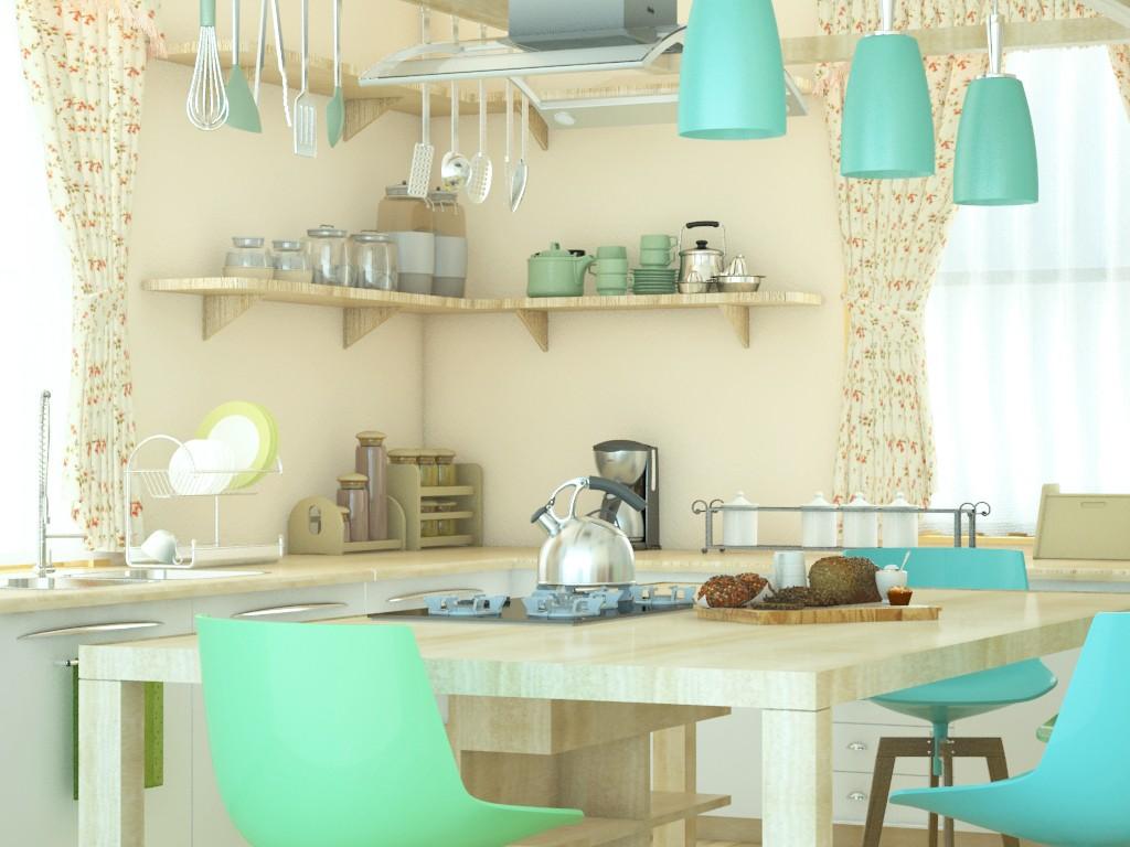 Cкандинавская кухня в 3d max vray 2.0 изображение
