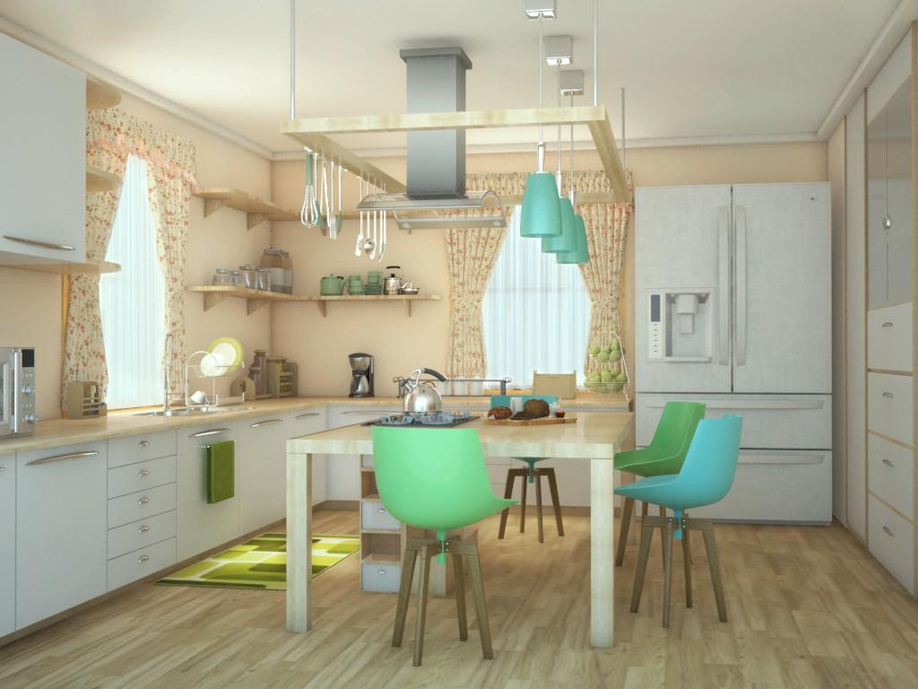 Scandinavian Kitchen in 3d max vray 2.0 image