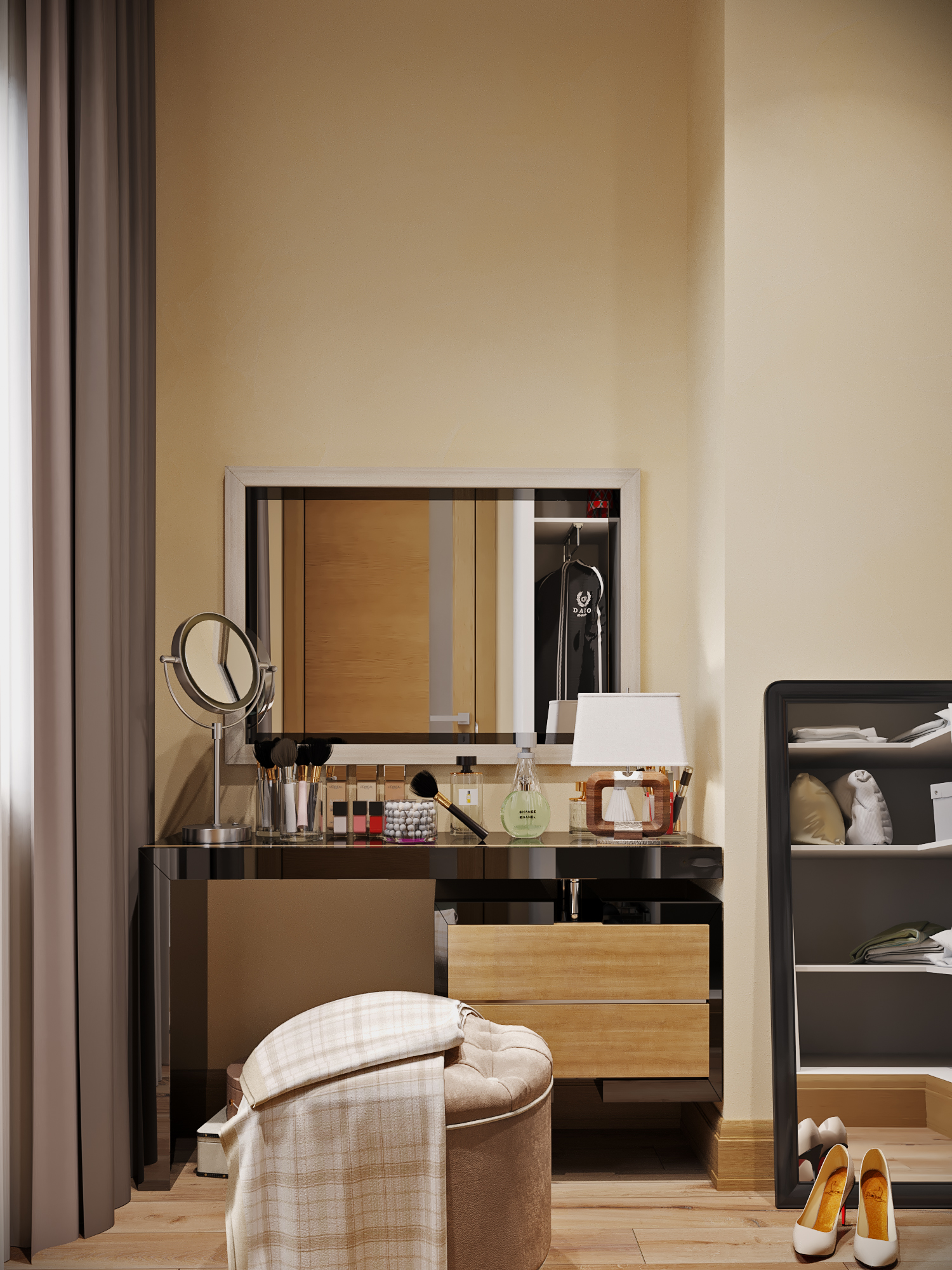 Townhouse. Visualization of the dressing room in 3d max corona render image
