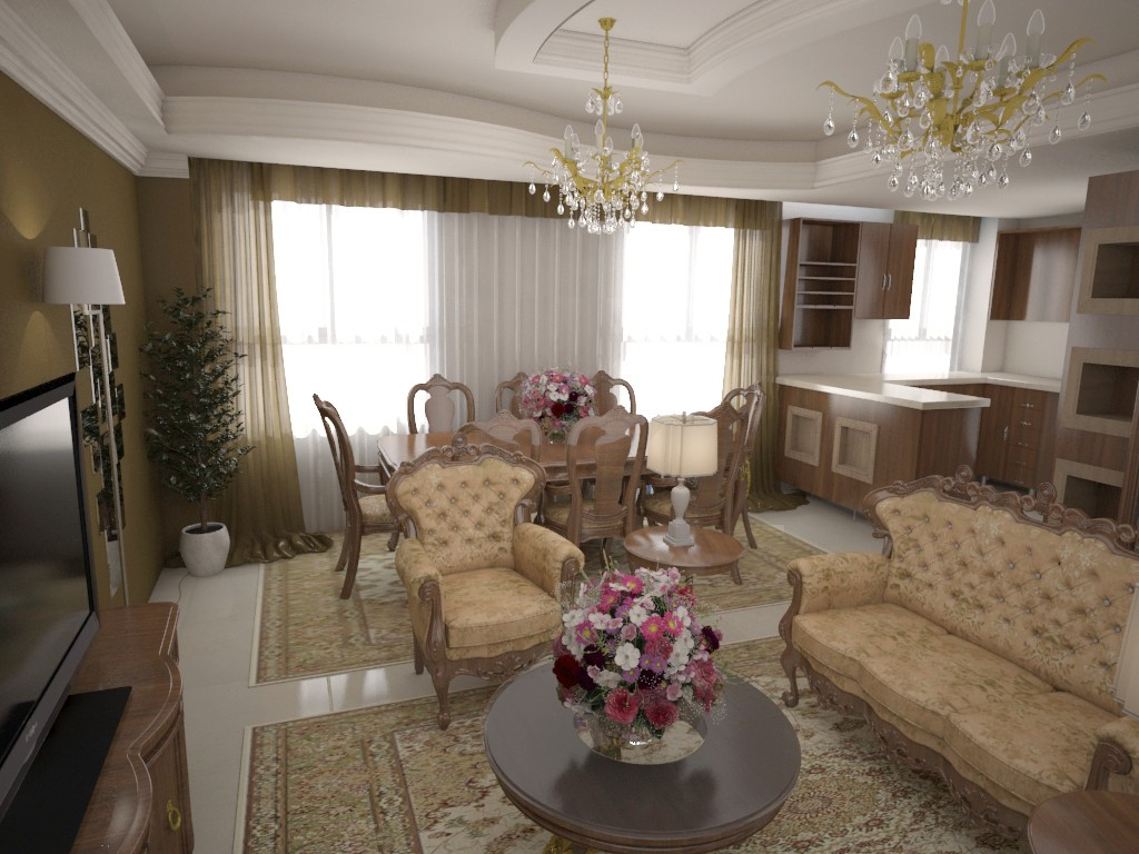 3d visualization of the project in the Classic Room 3d max, render vray 2.0 of bamer90